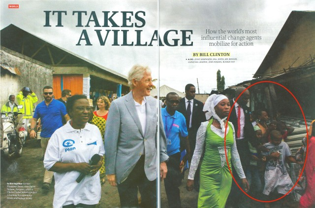 Former President Clinton on a mission to Africa but look in the circle to the right.